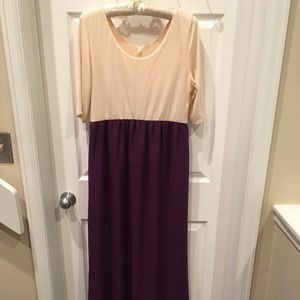 Pink Blush Cream and purple maxi dress
